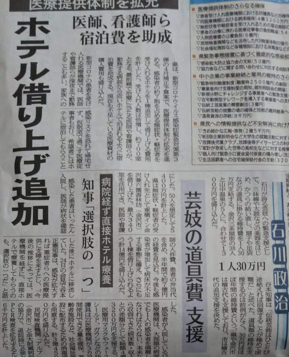 北國 新聞 コロナ