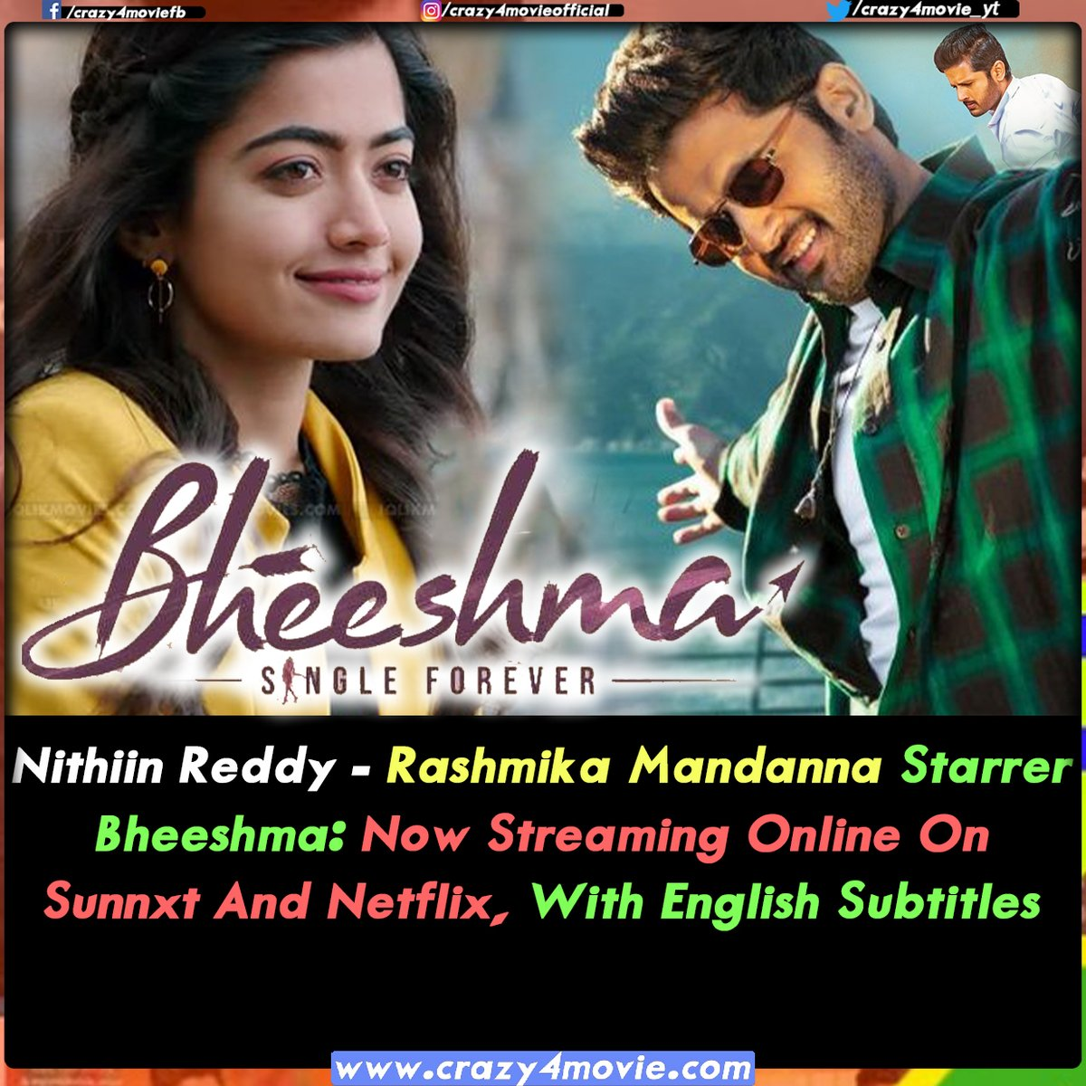 Crazy 4 Movie On Twitter Bheeshma Nithin Rashmikamandanna Telugumovie Movieupdates Sunnxt Netflix Nowstreaming
