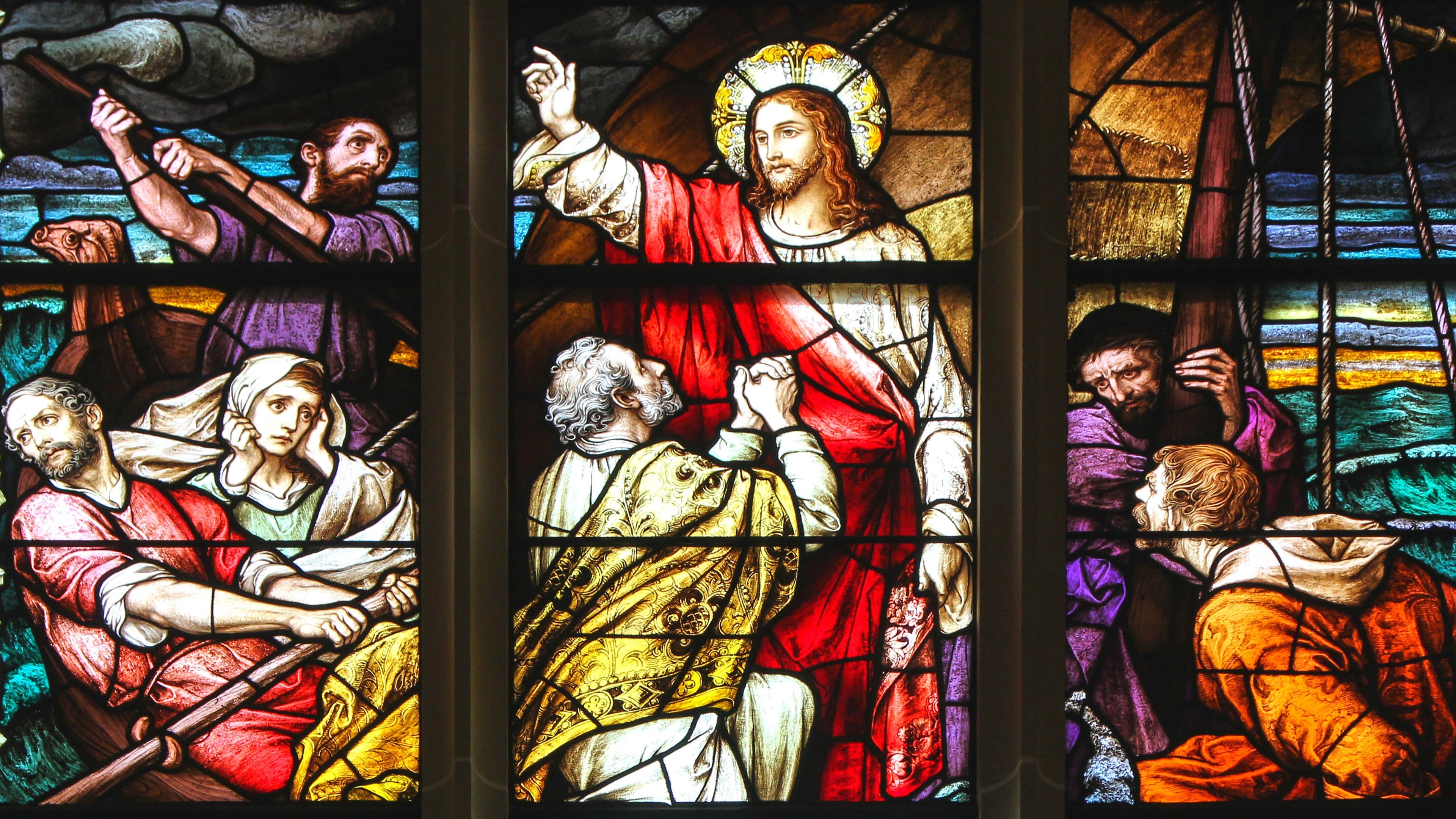 Jesus Cristo na barca com seus discípulos