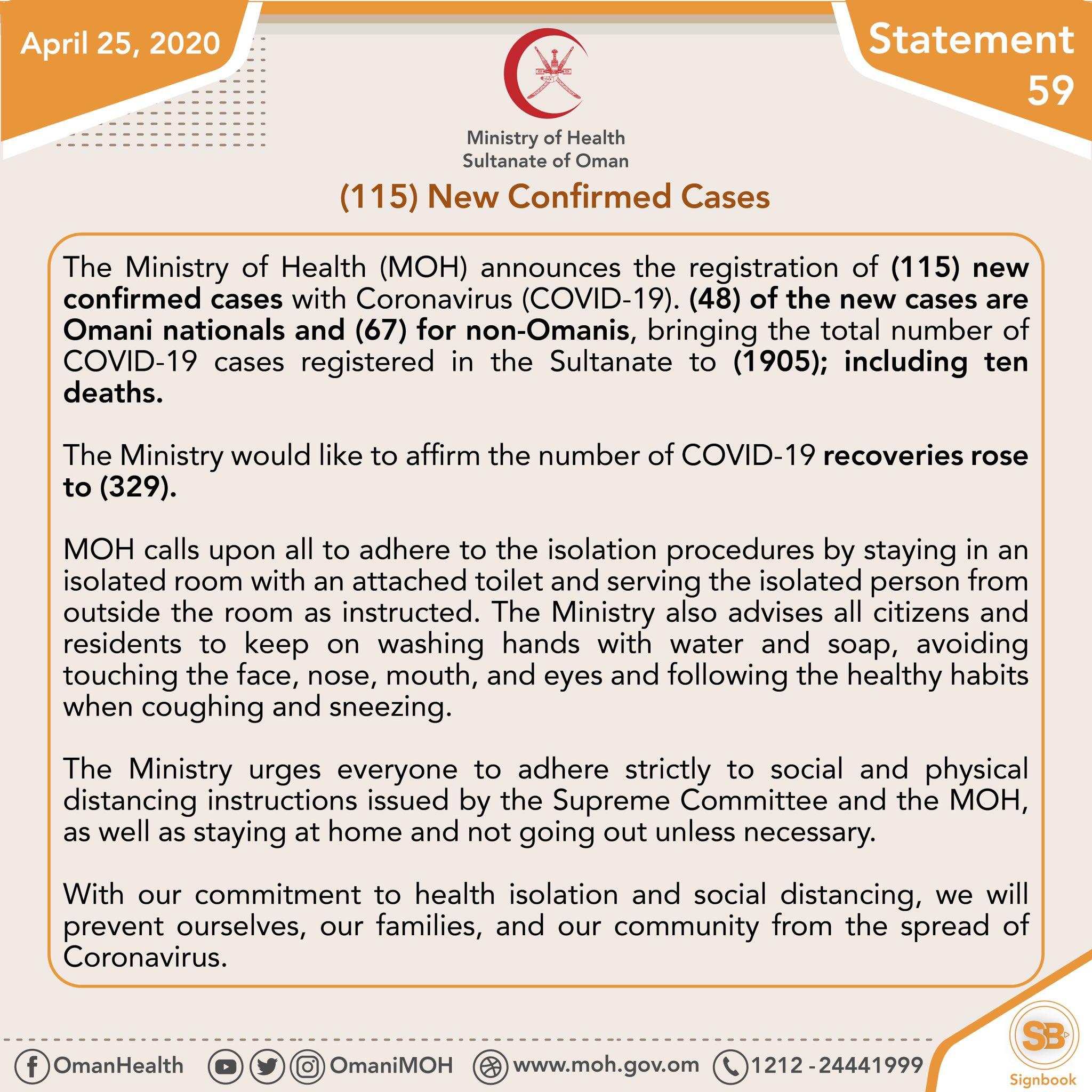 وزارة الصحة ع مان On Twitter Statement No 59 April 25 2020