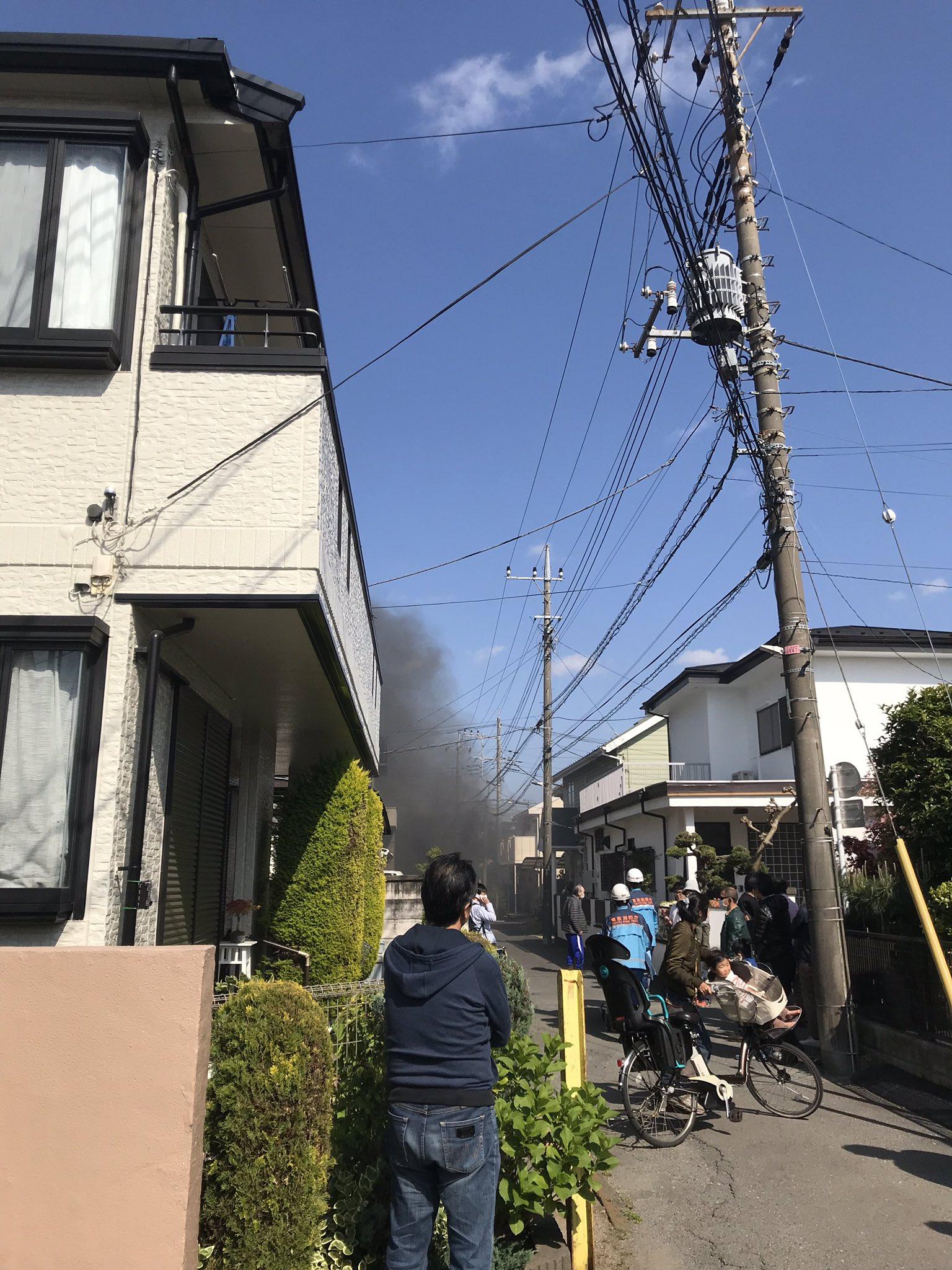 小金井市緑町の火災で黒煙が充満している画像