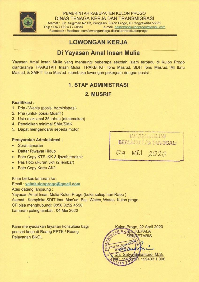 Hay Kulon Progo On Twitter Informasi Lowongan Kerja