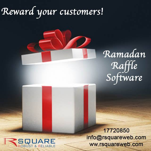 Rsquare Ramadan Raffle Software! Please call us for E- Demo-17720850/info@rsquareweb.com #rsquare #software #artificialintelligence #innovation #bahrainfintechbay #bahrain #AI #business #virtualassistant #banks #insurance #StaySafe #StayHome https://t.co/PvCxvAiyvu