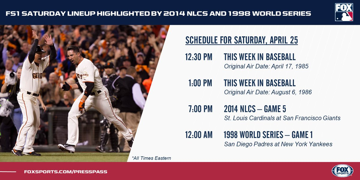 ✔️2014 NLCS Game 5 ✔️1998 World Series Game 1 A pair of Postseason classics highlight today's MLB coverage on @FS1.