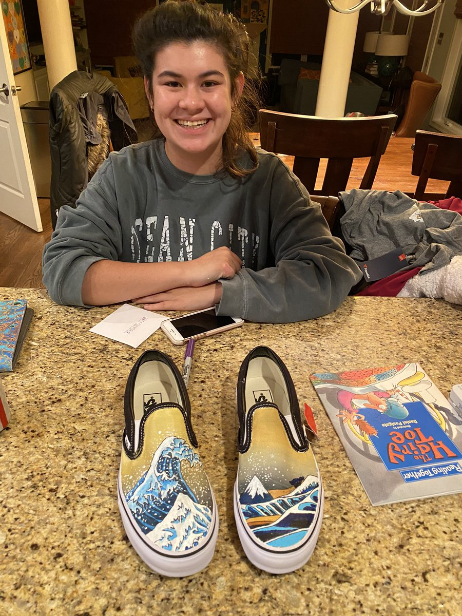 Me (last night, really late): Whatcha doing?  My 18 year old: Painting some shoes!  This morning: https://t.co/MFlypk7PHe