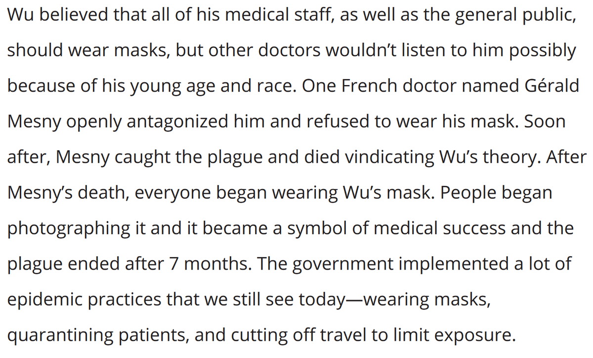 Western doctors didn't believe the young Malaysian-Chinese doctor, Wu Lien-teh, who realized that the 1910 Manchurian Plague was transmitted through the air, and that a simple cotton mask could reduce transmission.But then, everything changed... 1/4 https://99percentinvisible.org/episode/masking-for-a-friend/