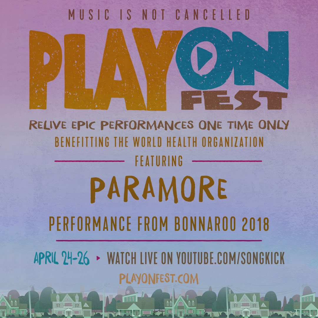 long time, no see 🙃 we have a little treat for you. to benefit @WHO, @playonfest is letting you relive one of our fav performances to date - our set from @Bonnaroo 2018. get comfy & tune in. ⤵️  log onto https://t.co/mfSVOl0ty8 at 5:15pm EST tmrw or 5:20am EST Monday to watch https://t.co/yAB3ZzoNy4