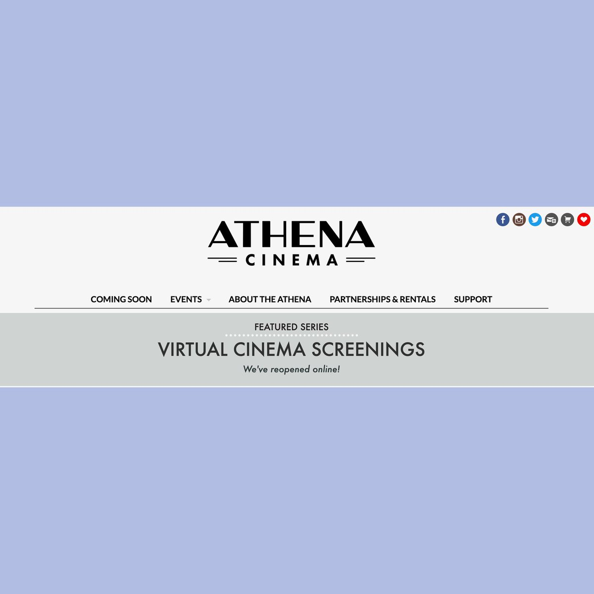 Support one of our favorite local businesses, the Athena by watching their online virtual screenings! https://t.co/1WxEigsD70 https://t.co/l3wMxbal50