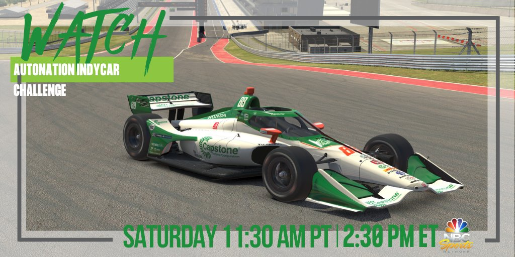 🚨 Its here! Tune in TODAY to watch @ColtonHerta in the @CapstoneTurbine #88 #IndyCar today on @NBCSN in the @iRacing #INDYCARChallenge at @COTA! 🚨 #DrivingSmarterEnergy 🌎 🖥WATCH @NBCSN ⏰ 11:30AM PT / 2:30PM ET @FollowAndretti // @IndyCar