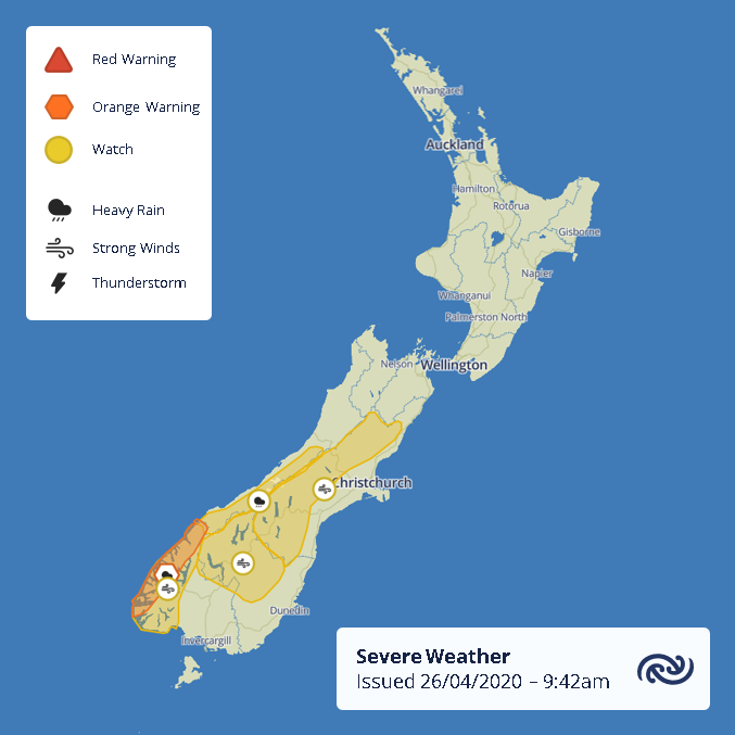 No one told the Weather Monday is a Public Holiday A cold front will be hard at work over the South Island tomorrow, with Heavy Rain for Fiordland and the Westland ranges, and Strong Winds for the central parts. For full details, see bit.ly/AllWarnings ^MM https://t.co/03P1UPJr5O