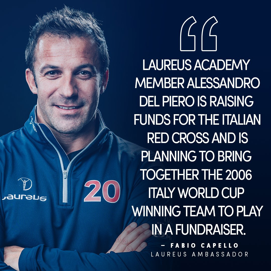 """""""@delpieroale...Giggs...these are very good and imaginative examples of how football individuals and teams can do good and show that sport cares.""""  💬 Fabio Capello  Read his full Laureus exclusive here 👉 https://t.co/dnYbHX9upy  #LaureusFamily https://t.co/waZtDvzSUK"""