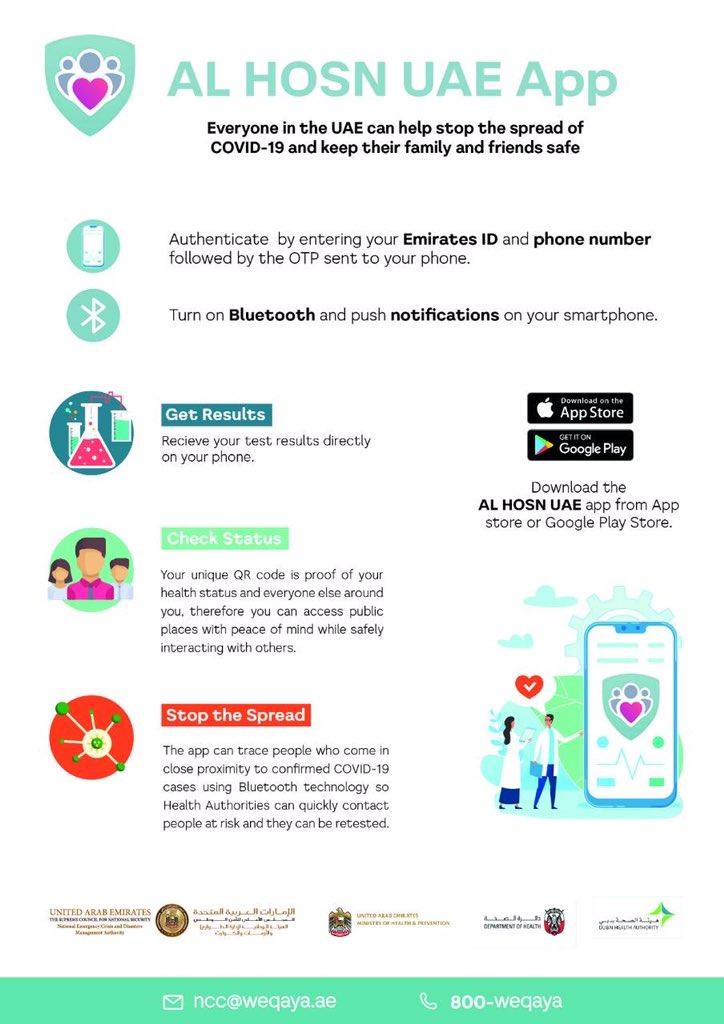 "NCEMA UAE on Twitter: ""قم بتنزيل تطبيق الحصن الإماراتي، وساهم في وقف انتشار #كوفيد19 Downloaded AlHosn UAE app, and help stop the spread of COVID19… https://t.co/vl3uakFJHD"""