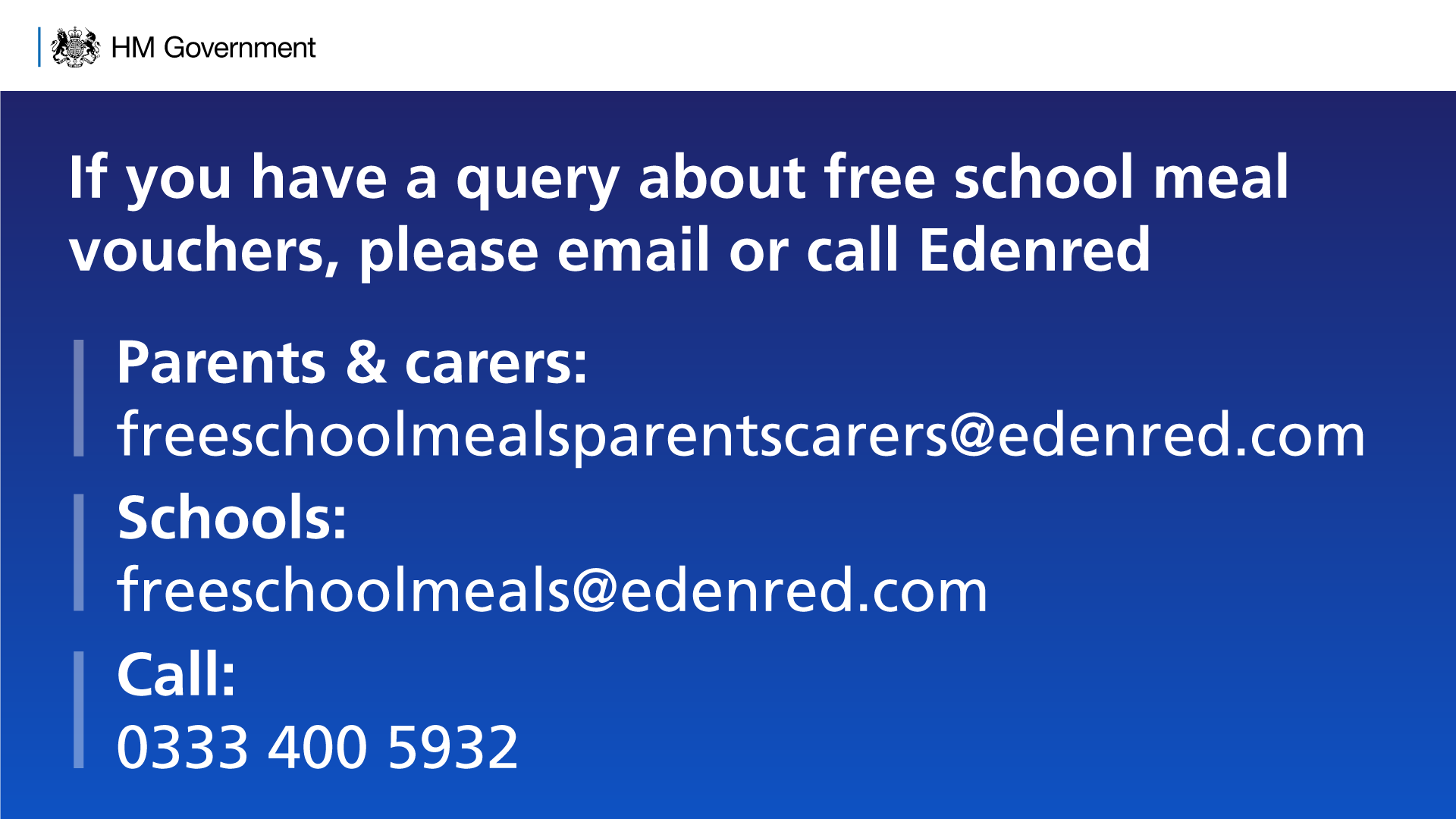 """Department for Education on Twitter: """"Schools & parents should not have to  ring a premium rate number to get information about free school meal  vouchers. If you have queries about FSM vouchers"""
