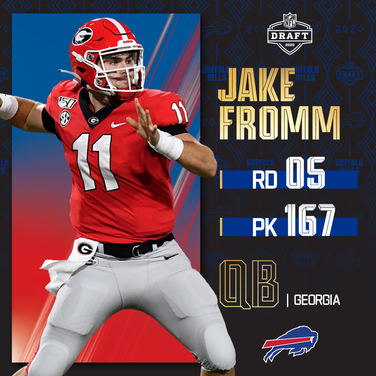 With the No. 167 overall pick, the @BuffaloBills select @GeorgiaFootball QB Jake Fromm! 📺: 2020 #NFLDraft on NFLN/ESPN/ABC 📱: bit.ly/2zrlHEG