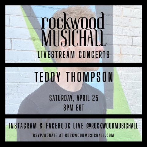 I'm live on @RockwoodNYC's Instagram and Facebook feeds now performing a couple tunes for you. Donation link below! https://t.co/axDDOLQxM3 https://t.co/MK32txqjIa