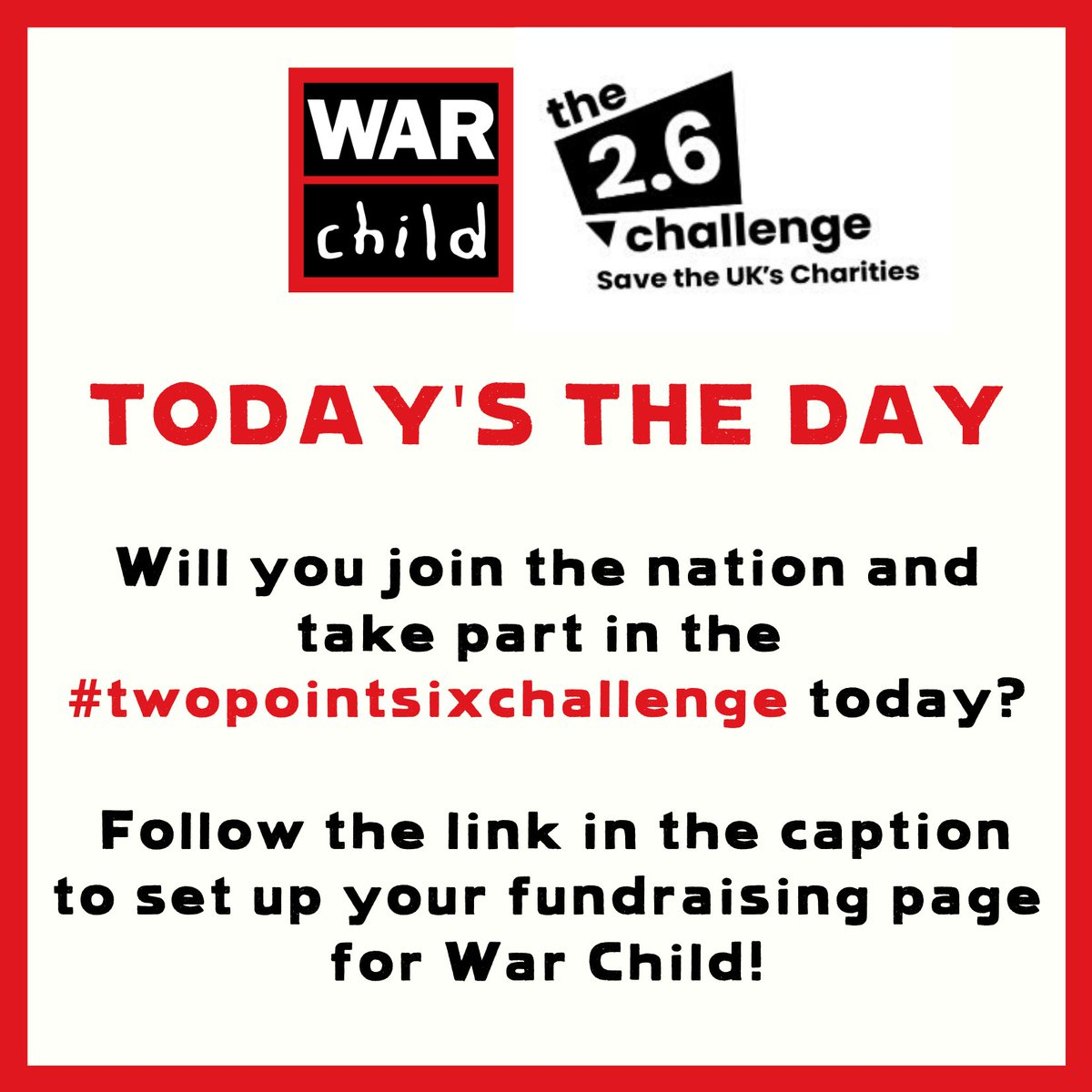 Let's get fundraising! Choose any #twopointsixchallenge you like, and join us in keeping children in conflict zones safe >> https://t.co/AeNAnsWuTJ https://t.co/JI3eL69JRV