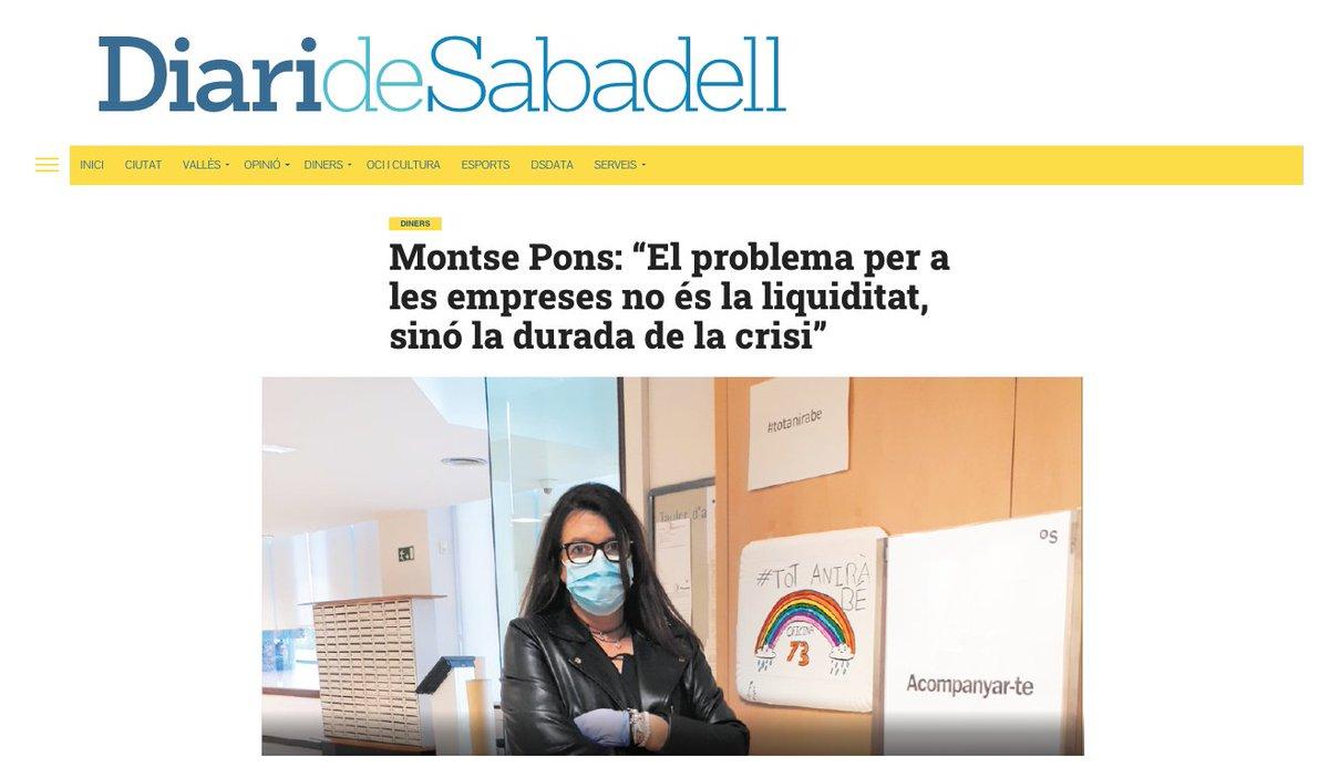 """#COVID19   """"El problema per a les empreses no és la liquiditat, sinó la durada de la crisi"""", Montse Pons, directora d'oficina @BancSabadell a #SantQuirzeDelVallès https://t.co/xaG3PCYEAA via @DiariDeSabadell  #SerOnSiguis https://t.co/sW9C2nksO2"""