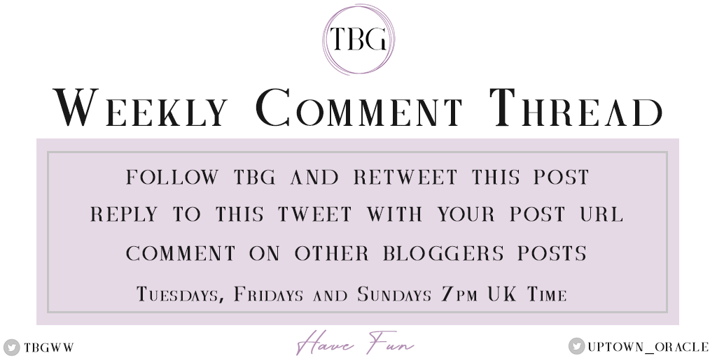 It's Tuesday!  Which means it's the start of The Blogger Group's comment thread!  Drop your links below and comment on other people's posts  <br>http://pic.twitter.com/x8GPfyogu6