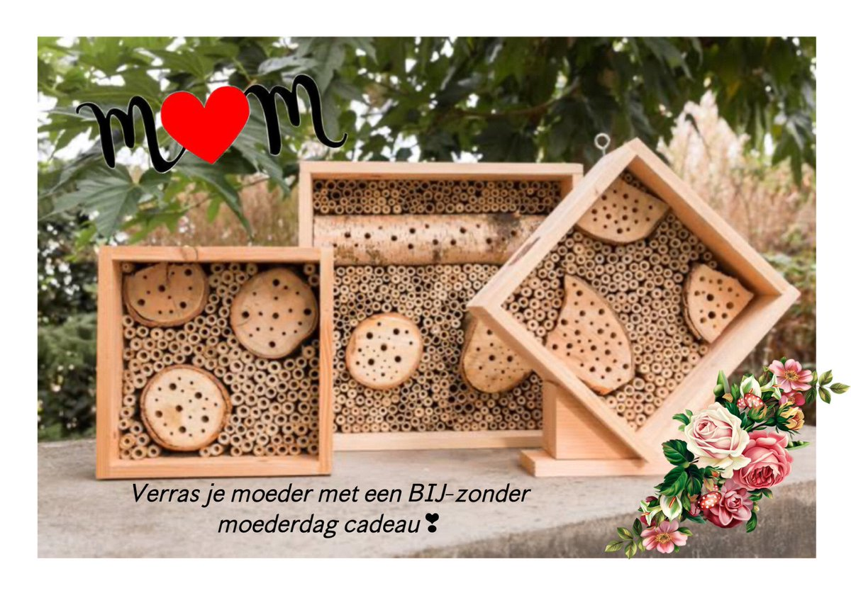 MOEDERDAG TIP  Verras je moeder met een BIJ-zonder moederdag cadeau. Kijk op onze webshop voor de modellen #bijenhotels   Delen = fijn #moederdag #cadeau #kado #moeder #mama #oma #feest #bijenhotel #bijen #wildebijen #bestuivers #natuur #biodiversiteit #tuin #balkonpic.twitter.com/Y2HpAzEhol