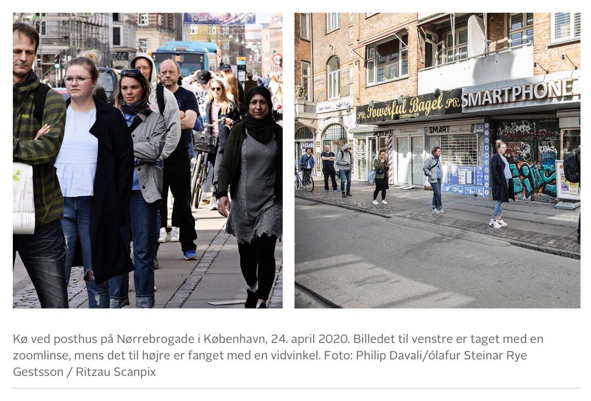 Danish news site reminds people of being skeptical of how news photographers take pictures. Here is the same place, one picture taken with a zoom lense, and the other with a wide-angle lense:
