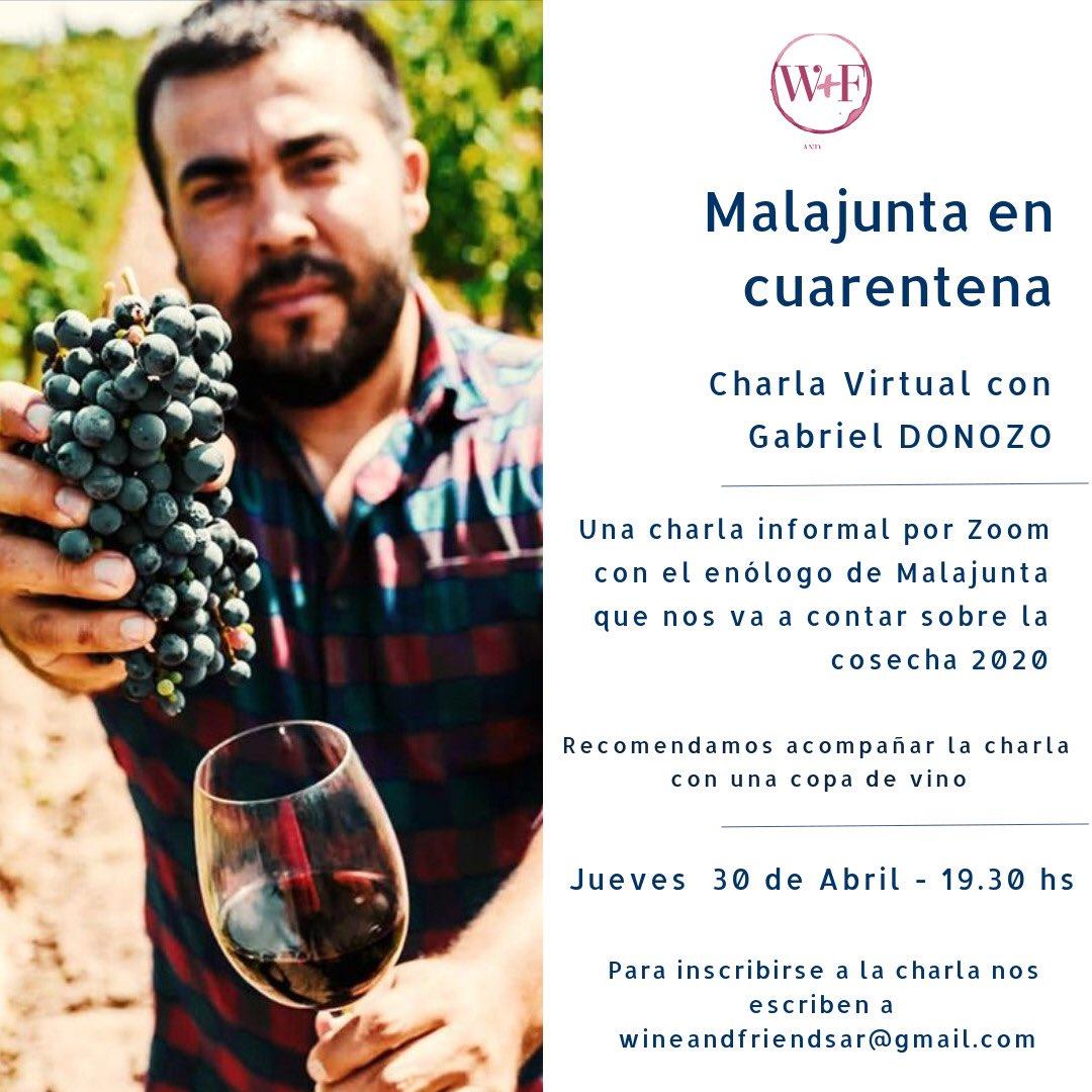 El jueves  30 nos juntamos con @gabrielMJwines a charlar y compartir un vino  avisame y te mando link @MalajuntaWines para todos #Winelover #wineandfriends #abrilpic.twitter.com/psfQhG3g1r