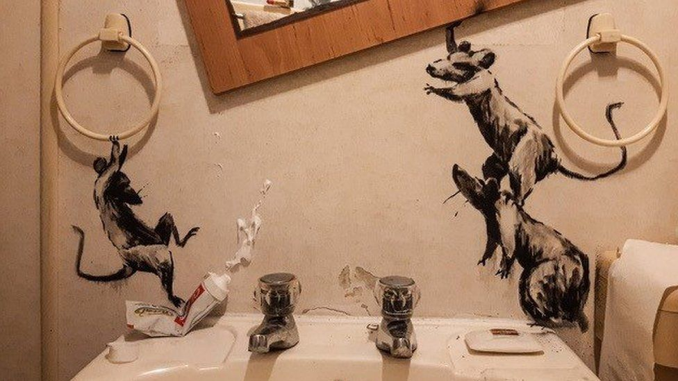 A close-up of Banksy's recent artwork at home 'My wife hates it when I work from home'