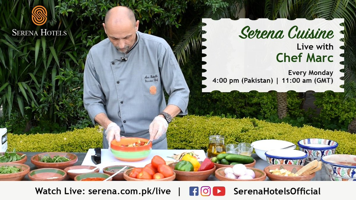 Cook along with our Executive Chef Marc in your own kitchen while he shares his favourite recipes.  Watch Live on Monday, 27th April at 4:00 pm (Pakistan Time)   11:00 am (GST) on https://t.co/CKL9uloMfi or Facebook/YouTube/Instagram @SerenaHotelsOfficial.  #StayHome #StaySafe https://t.co/HcQfr34qDU