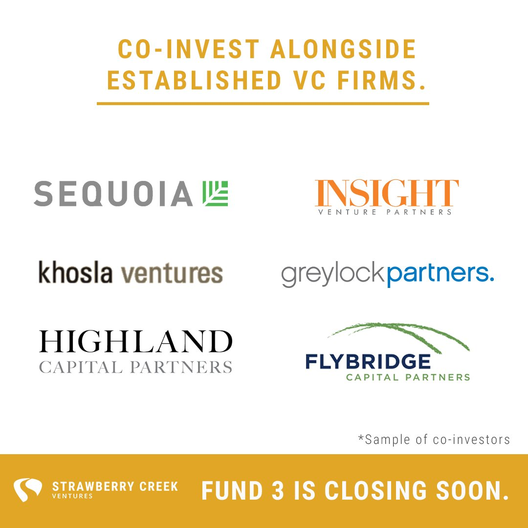 Invest in Venture Capital alongside firms like these. This year's Strawberry Creek Ventures fund is accepting new investors for a few more days. Diversify your holdings with a smart VC portfolio. Connect with us before 4/30 if you are interested: https://t.co/iXlwbmjKak https://t.co/dMBOst0WAc