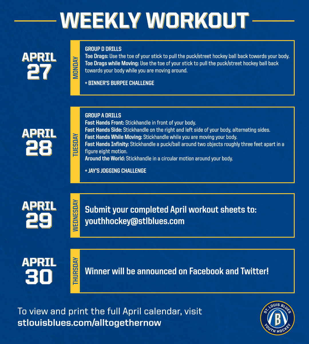 Time for the final week of the #HockeyNeverStops challenge! Finish strong and don't forget to submit your completed forms to youthhockey@stlblues.com on Wednesday! https://t.co/HhjBrI32y8