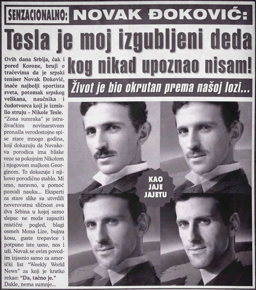 Novak Đoković: Nikola Tesla je moj izgubljeni deda kog nikad upoznao nisam!
