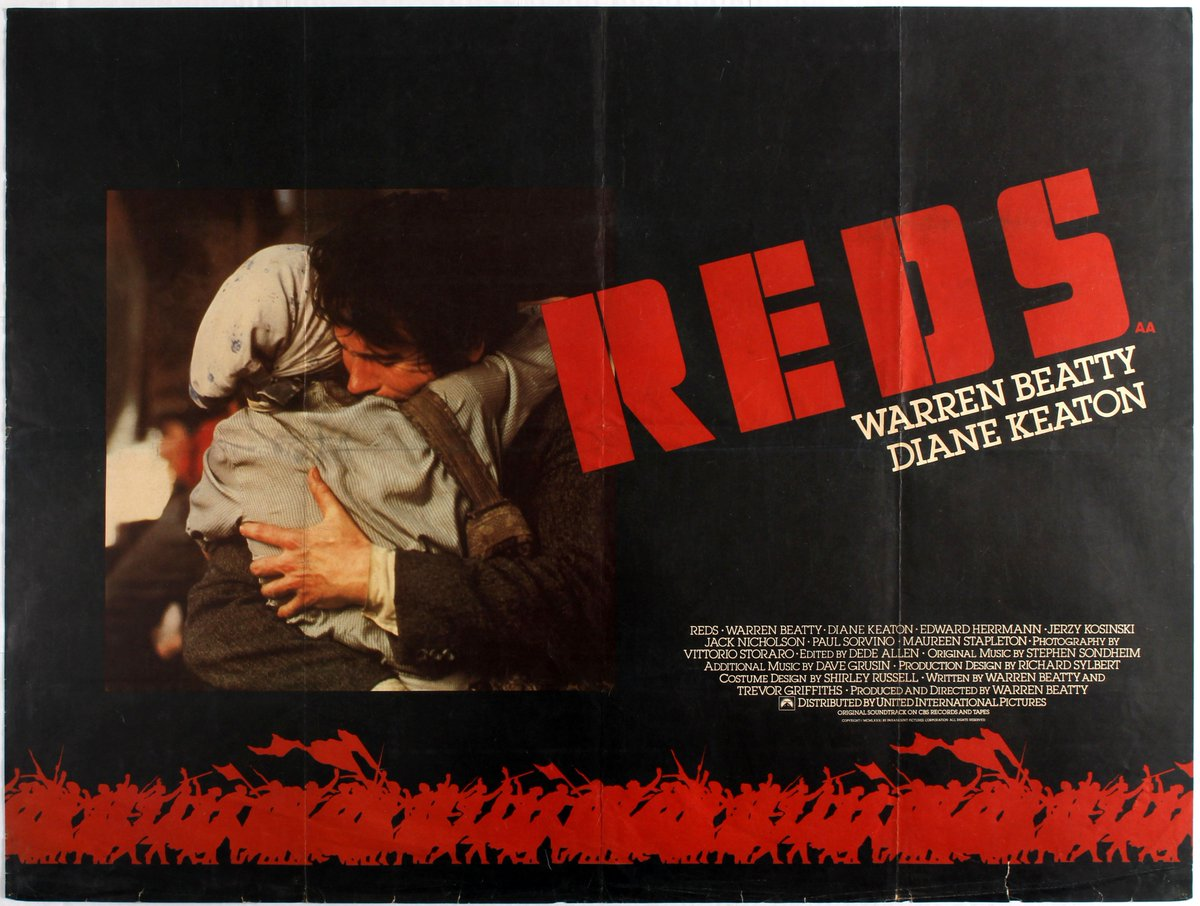 "Rados on Twitter: ""Reds (1981) - American activist John Reed travels to  Russia to witness the revolution and its aftermath. Dir: Warren Beatty  Cast: Warren Beatty, Diane Keaton, Jack Nicholson, Maureen Stapleton,"