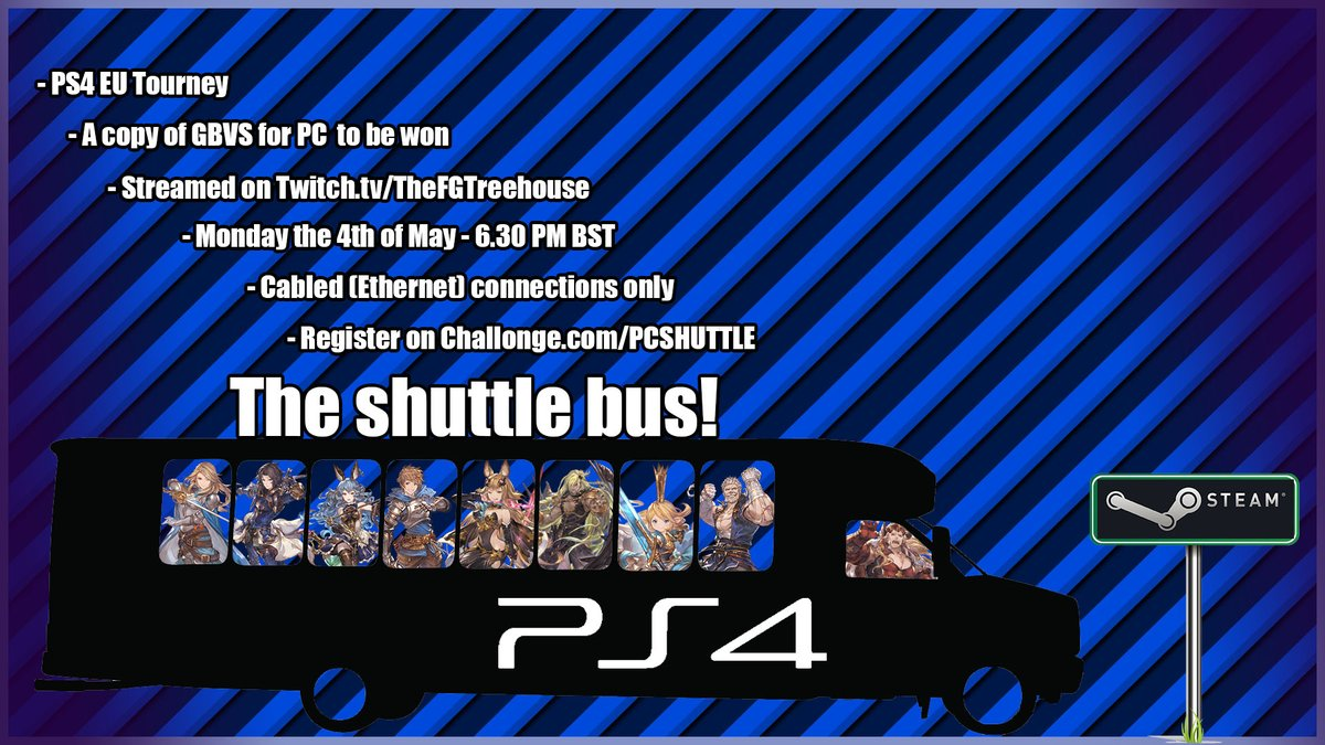 """We now have a poster : D   A PS4 Tourney that will reward the winner with a copy of GBVS for PC!  Register for """" The Shuttle Bus"""" PS4 Tourney here: https://t.co/vpV2V3hzBy (Please read and follow ALL the rules). https://t.co/KE6omx9ywj"""