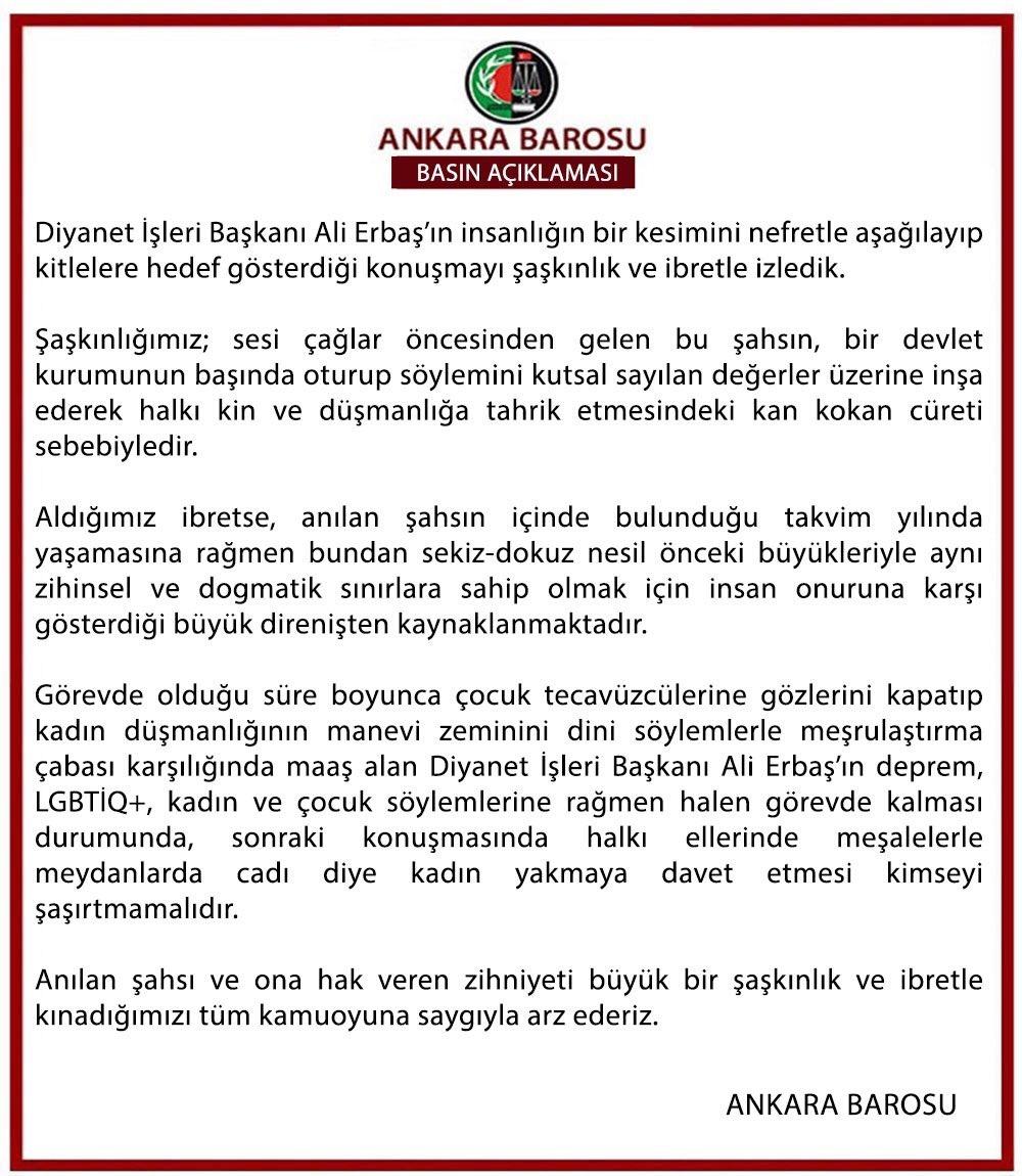 Ankara Barosu Açıklaması
