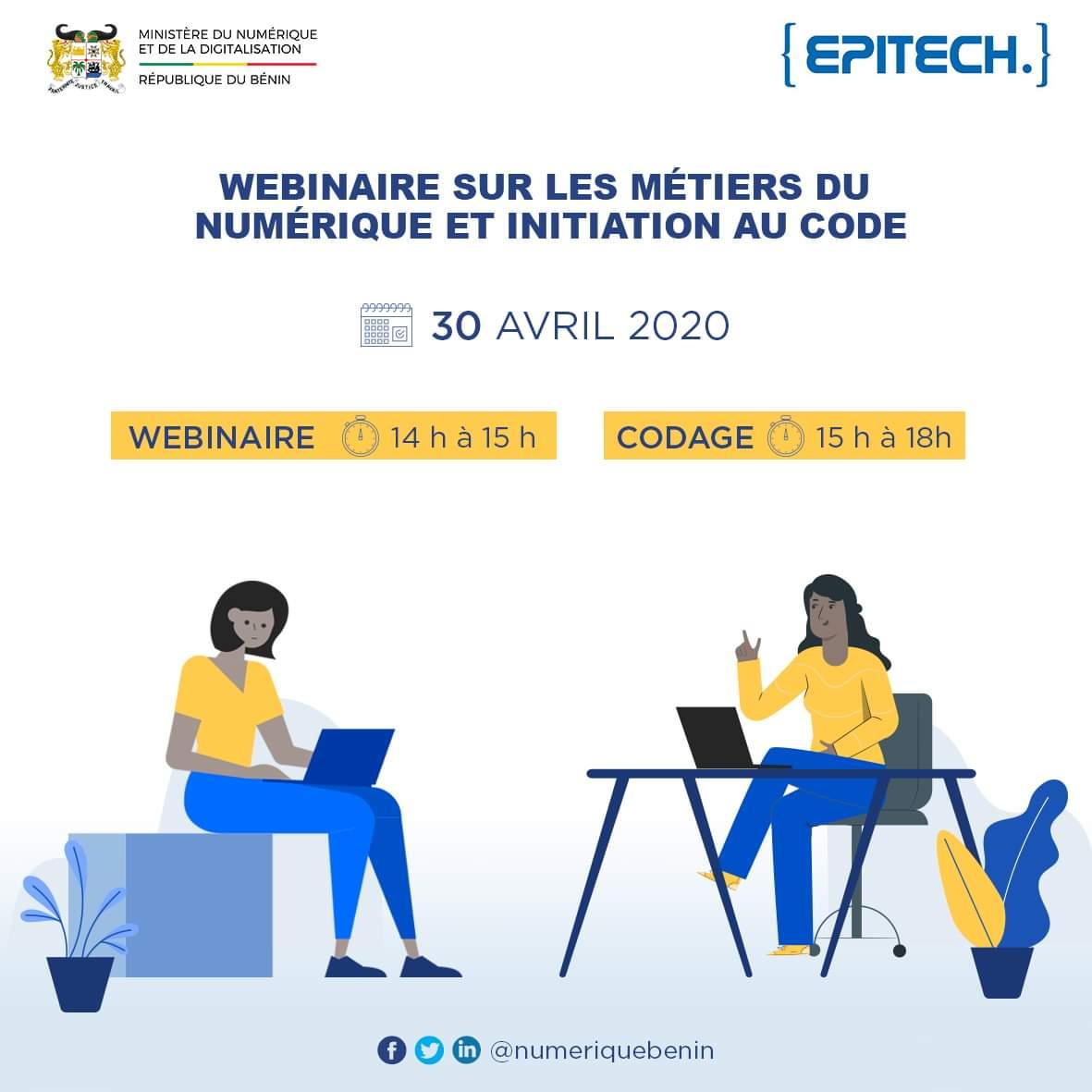 Prenez dès maintenant le rendez-vous pour participer au Webinaire sur les métiers du numérique et l'initiation au code en remplissant le formulaire à l'adresse suivante :  https://t.co/v8qI6FIkT7  #BeninNumerique #wasexo  @numeriquebenin @gouvbenin @ITU @UNICEF_Benin @ab_benin https://t.co/YdnJZcjyMc