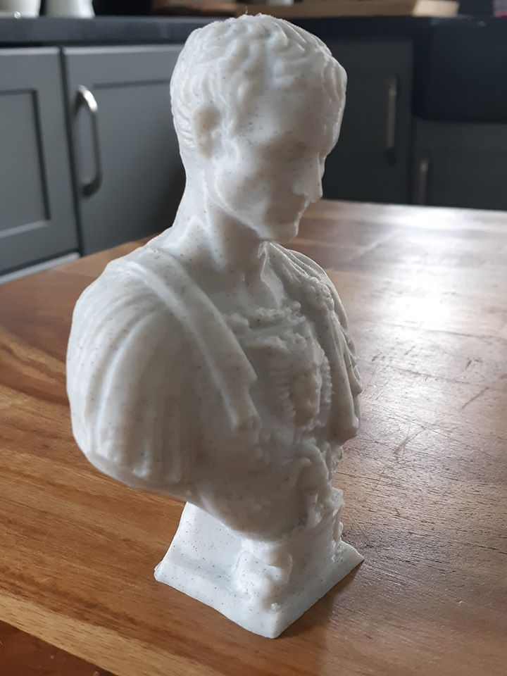 Statue of Juilius Caesar, print by @3dwensshop with #eSUN #eMarble PLA on the Prusa i3 MK3S.   Due the special look of the eMarble 3d filament, the statue looks like it is made of real marble, and can still print as easy as PLA filament.  #3dprinting #juiliusCaesar