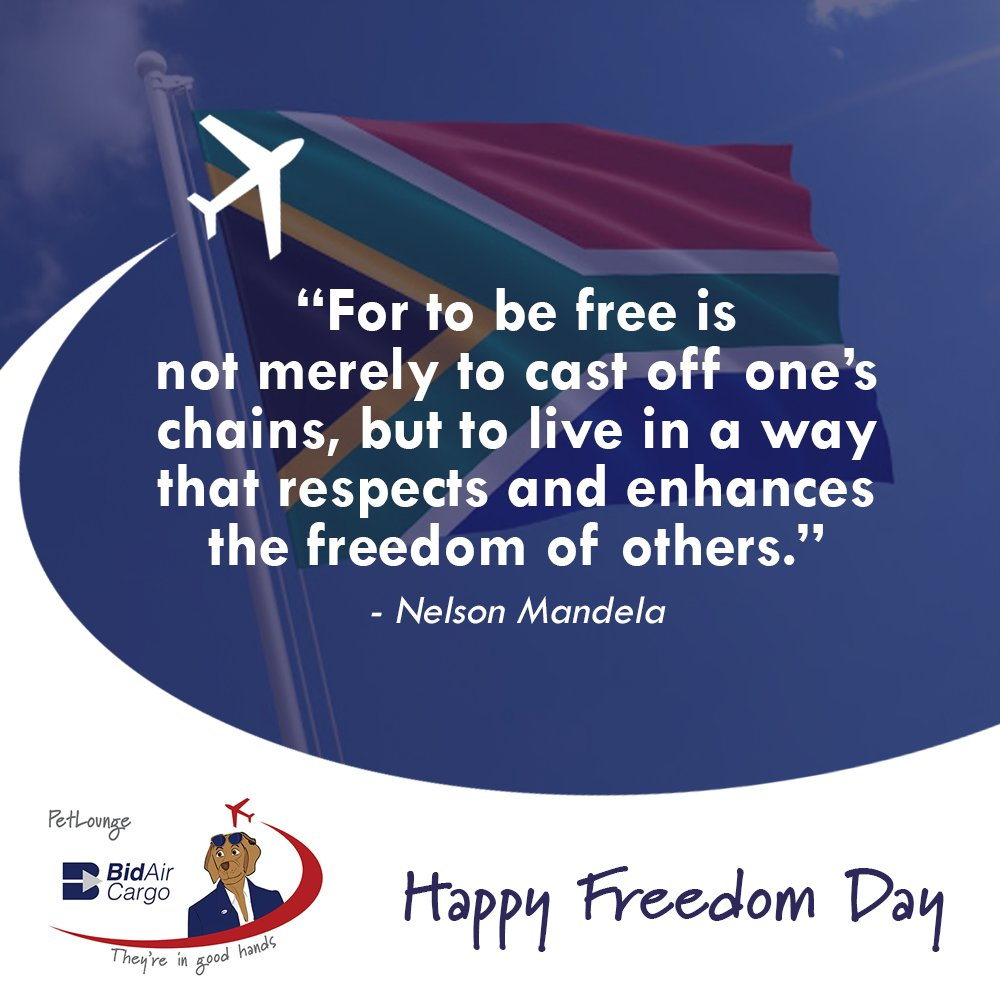 Happy Freedom Day from all of us at BidAir Cargo #PetLounge 🇿🇦 #FreedomDay2020 #ProudlySouthAfrican https://t.co/xP15dMnJWr