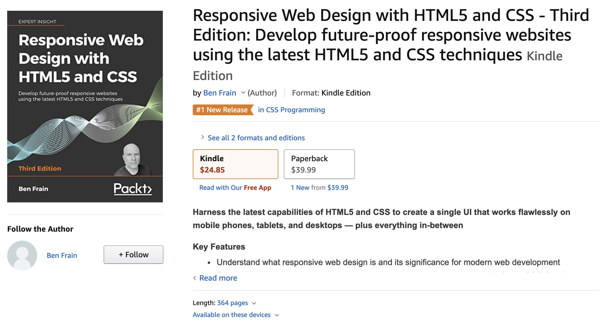 Ben Frain On Twitter It S Here You Can Pre Order Now Amazon S 1 New Release In Css Programming Responsive Web Design With Html5 And Css Third Edition Https T Co Sp8nuwaefm I D Love It If