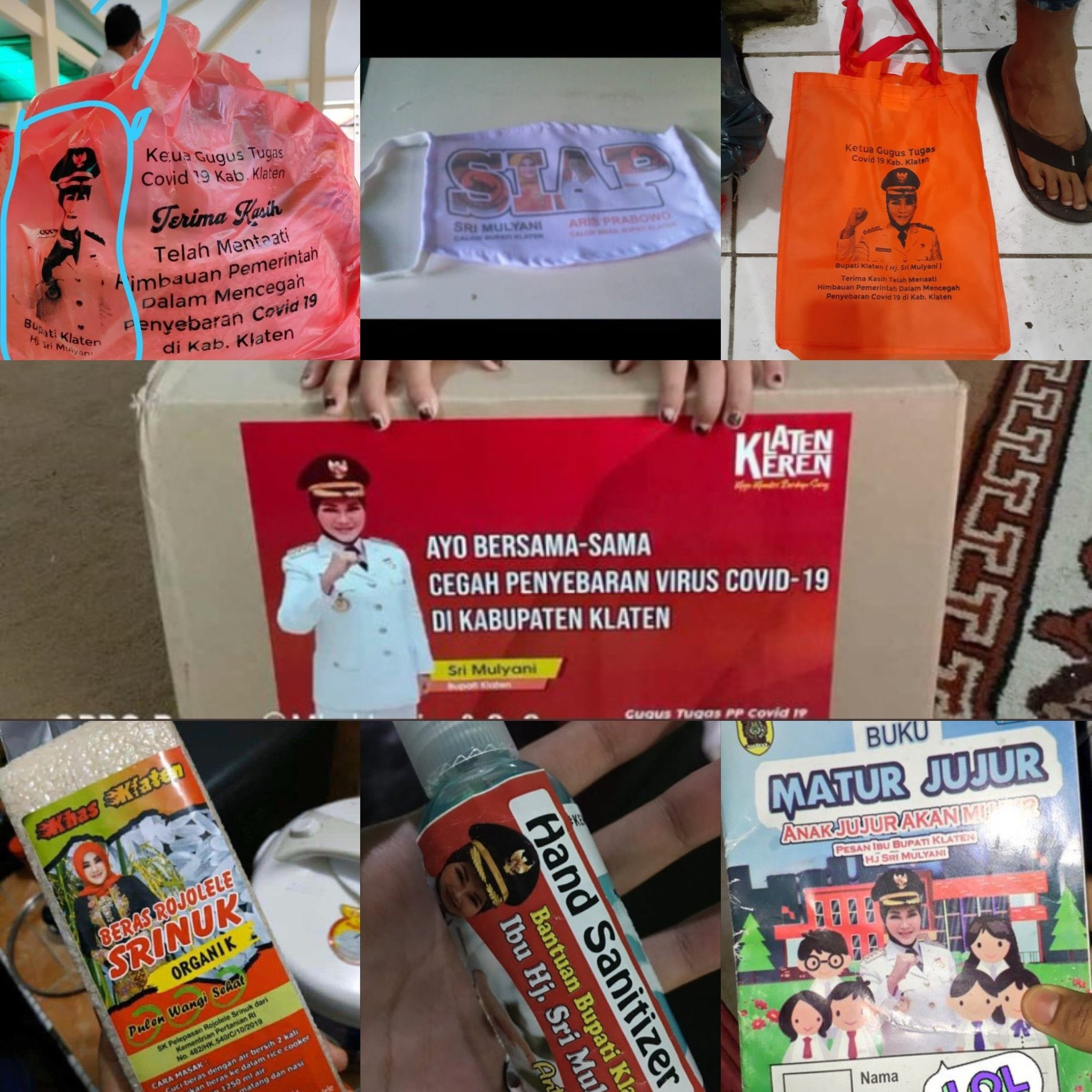 Aneka bantuan berstiker Bupati Klaten Sri Mulyani
