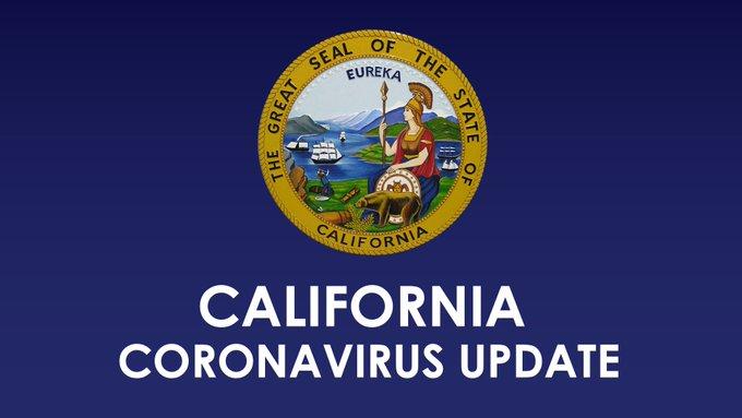 Dark blue graphic with California State seal at the center.  White text: California Coronavirus Update