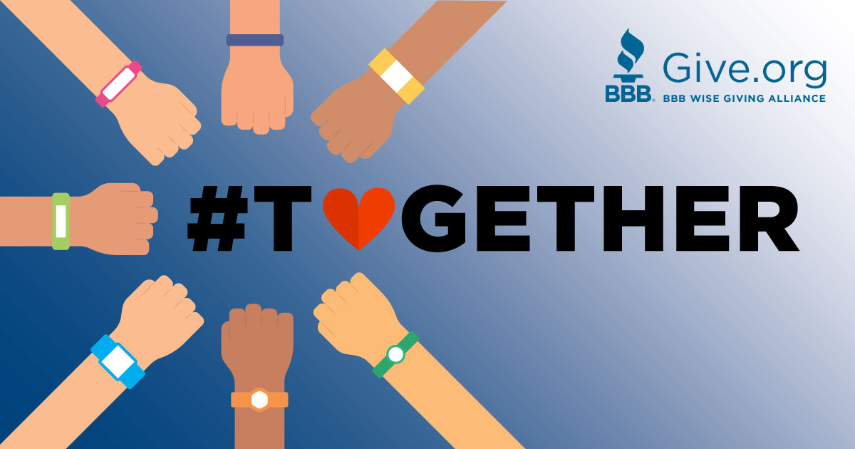 Together We Give. Find a trusted charity, helping us win together at Give.org.