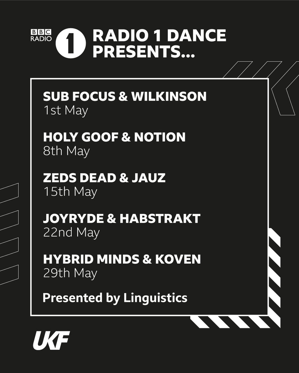 We're taking over @BBCR1's Dance Presents show every Friday in May! 📻 Repping the full spectrum of bass music:  @subfocus x @WilkinsonUK @HOLYGOOF_UK x @NotionDJ @zedsdead x @Jauzofficial @enJOYRYDE x @habstrakt @HybridMindsDNB x @KOVENuk  Details: https://t.co/EJEXuwu4AW https://t.co/4MMbvA5bj5
