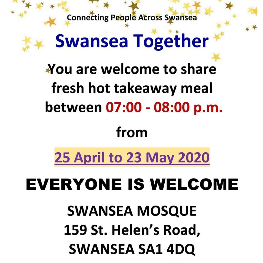 Free hot evening meals from the Swansea Mosque during Ramadan!