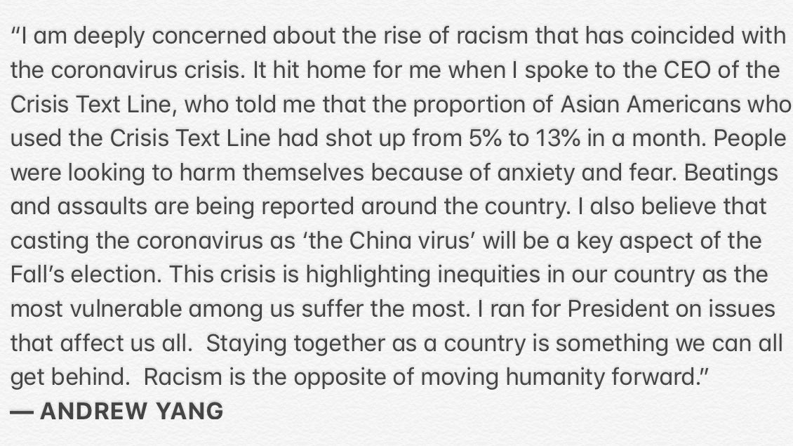 "In a stmt exclusive to @NBCNews, @AndrewYang shares why he started The #AllAmericans Movement after the rise in racism amid #COVID19:  ""Casting the coronavirus as 'the China virus' will be a key aspect of the Fall's election ... Racism is the opposite of moving humanity forward."" https://t.co/cHGYL5YJnJ"