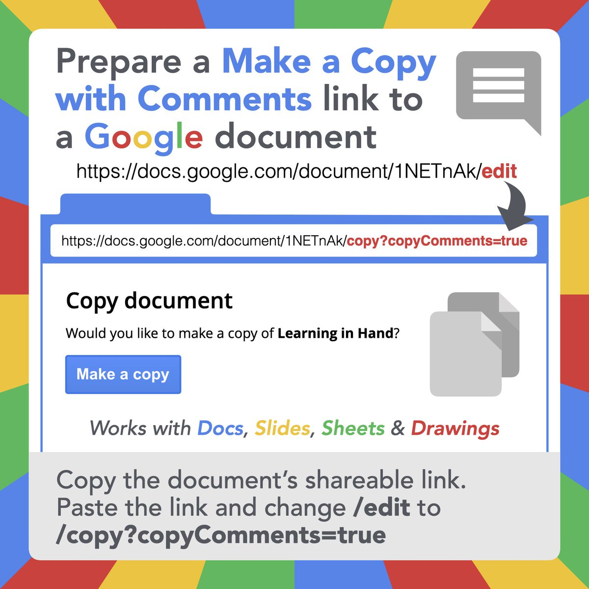 📑 You can force others to make a copy of a document and include the document's comments. The comments may contain annotations, helpful hyperlinks, question stems, etc. #GoogleEDU #gsuiteedu https://t.co/hslLQNUM2b