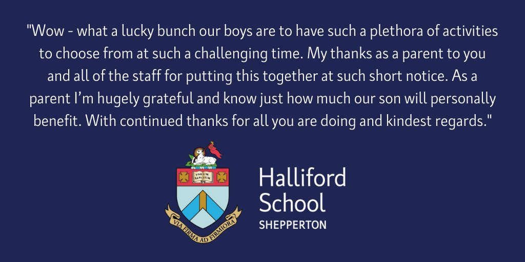 As we roll out our new co-curricular programme of virtual activities and clubs, it is great to receive such positive feedback from our parents. Thank you. #schoolactivities #schoolclubs #virtuallearning #parenttestimonial #proudtobeahallifordianpic.twitter.com/34DerVEJVj