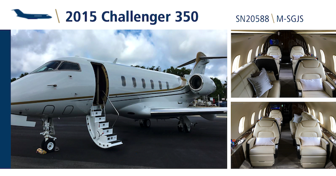 This exceptional 2015 Challenger 350 featuring 9 passenger configuration is currently available for lease or sale by Global Jet Capital. Learn more: hubs.ly/H0pSVCc0. #bizav #bizjet #challenger