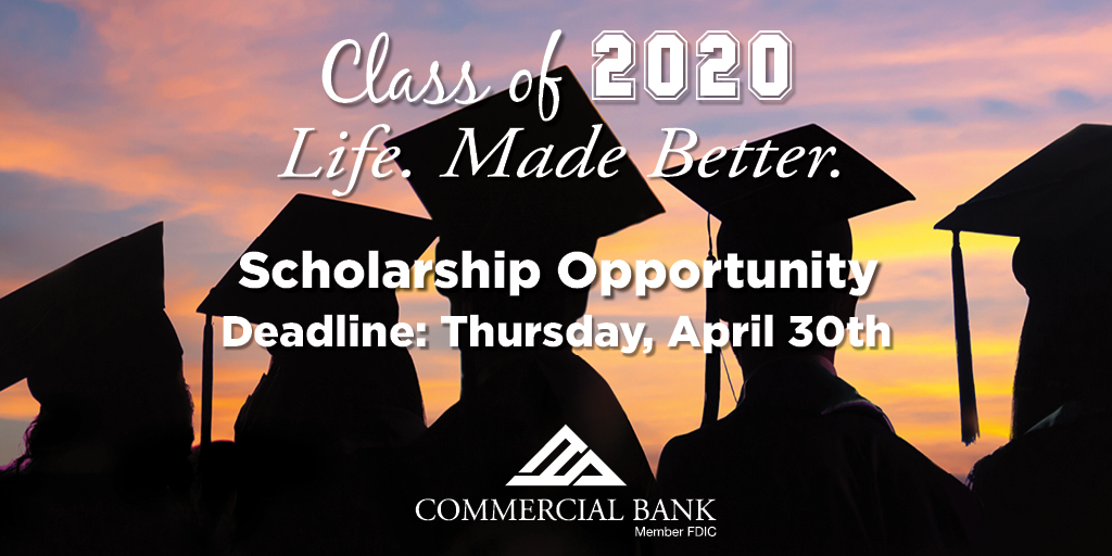 "Graduating Seniors, we salute you! Please visit https://t.co/oiEEQnUhzs to learn about Commercial Bank's ""Life. Made Better."" Scholarship and apply online. The application deadline is this Thursday! #LifeMadeBetter #scholarship #Classof2020 https://t.co/X6hDGNfQcO"