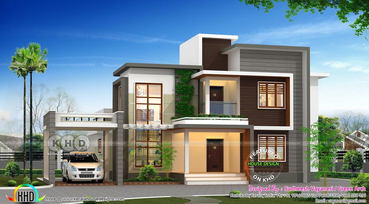 Kerala Home On Twitter Modern Flat Roof Home Https T Co Kge9kjtgki