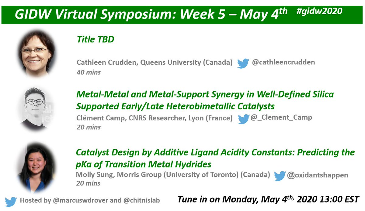 An honour to be presenting w/ @cathleencrudden and @_Clement_Camp next Mon! Ill be discussing Morriss Ligand Acidity Constant method - a handy tool for catalyst design! Sign up: cheminst.ca/conferences/gi… Thanks for the invite @chitnislab, @marcuswdrover! #ChemTwitter #GIDW2020