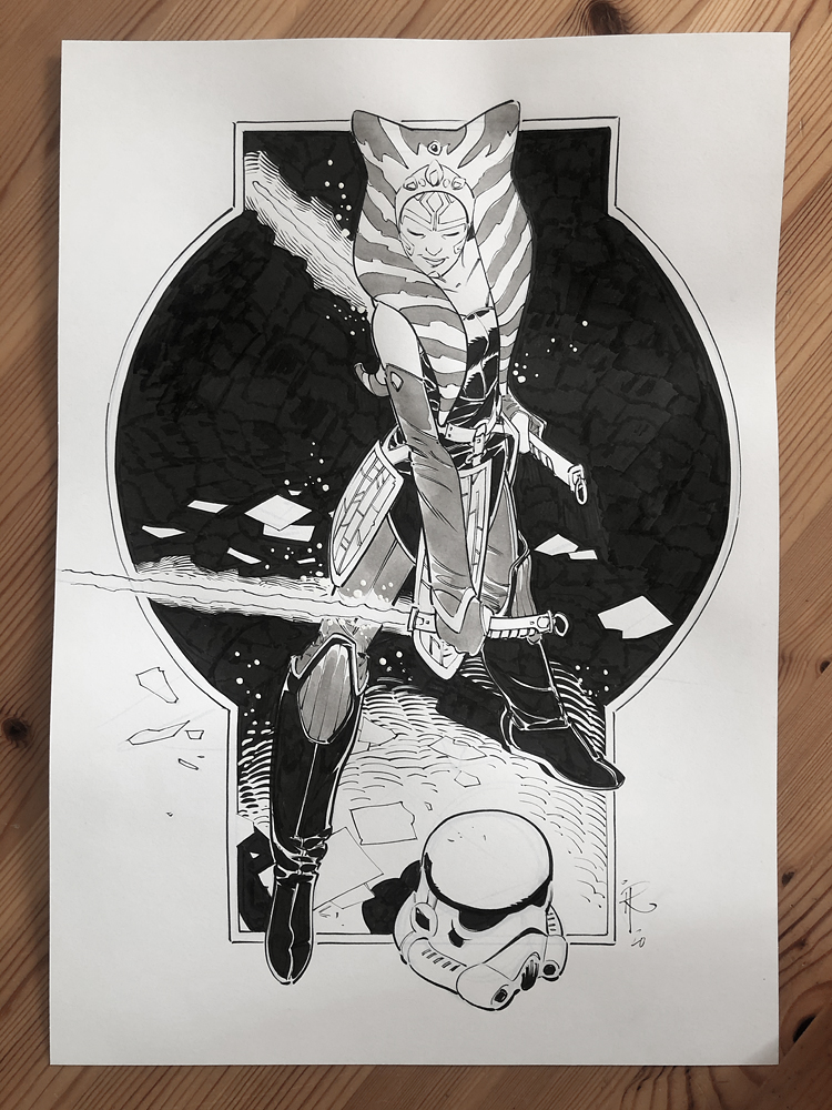Ahsoka · ink, ink wash and gouache on paper · A3 size · #AhsokaTano #StarWars #fanart